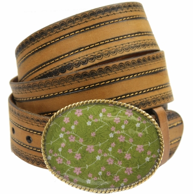 "Floral Serenity Genuine Full-Grain Leather Belt 1 1/2"" Wide-Tan"