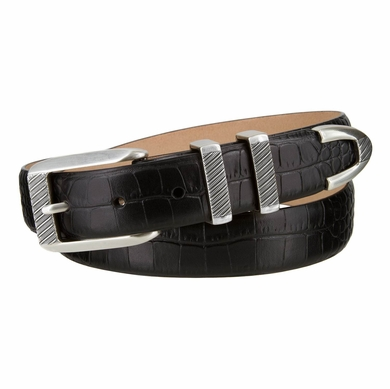 "Florida Italian Calfskin Leather Designer Golf Dress Belt with Silver Buckle Set  1 1/8""  Wide"