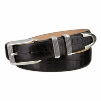 "Florida Italian Calfskin Leather Designer Golf Dress Belt Silver Buckle Set for Men 1 1/8"" (30MM) Wide"