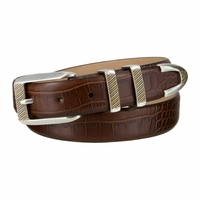 "Florida Italian Calfskin Leather Golf Dress Belt With Gold Buckle Set for Men 1 1/8"" (30MM) Wide"