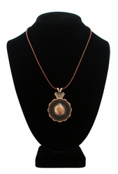 Flower Engraved Concho Necklace Copper Finish