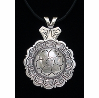 Flower Engraved Concho Necklace Silver Finish