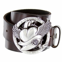 Flying Heart Belt Buckle Casual Jean Leather Belt