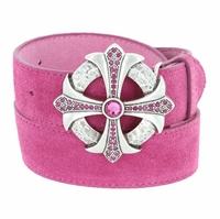 Fuchsia Rhinestone Cross Celtic Buckle Suede Leather Belt - Pink