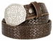 "Full Grain Braided Woven Casual Leather Belt with Floral Design Belt Buckle 1-1/2"" - Brown2"