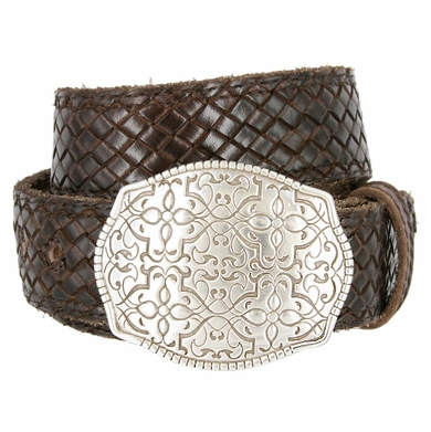 "Full Grain Braided Woven Casual Leather Belt with Floral Design Belt Buckle 1-1/2"" - Brown"