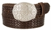 "Full Grain Braided Woven Casual Leather Belt with Floral Design Belt Buckle 1-1/2"" - Brown1"