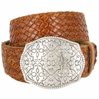 "Full Grain Braided Woven Casual Leather Belt with Floral Design Belt Buckle 1-1/2"" - Tan"