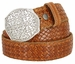 "Full Grain Braided Woven Casual Leather Belt with Floral Design Belt Buckle 1-1/2"" - Tan2"