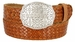 "Full Grain Braided Woven Casual Leather Belt with Floral Design Belt Buckle 1-1/2"" - Tan1"