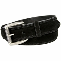 Full Grain Suede Casual Jeans Leather Belt Roller Buckle 35mm wide - Black
