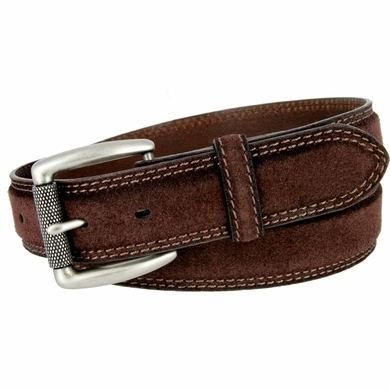 Full Grain Suede Casual Jeans Leather Belt Roller Buckle 35mm wide - Brown