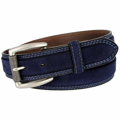 Full Grain Suede Casual Jeans Leather Belt Roller Buckle 35mm wide - Navy