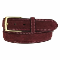 Fullerton 3510003 Genuine Full Grain Suede Leather Belt with Brass Buckle - Burgundy