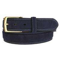 Fullerton 3510005 Genuine Full Grain Suede Leather Belt with Brass Buckle - Navy