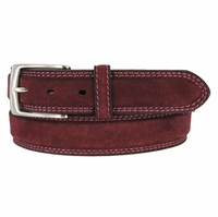 Fullerton 3510003 Genuine Full Grain Suede Leather Belt with Nickel Buckle - Burgundy