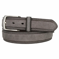Fullerton 3510004 Genuine Full Grain Suede Leather Belt with Nickel Buckle - Gray