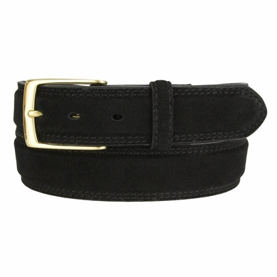 Fullerton 3510001 Genuine Full Grain Suede Leather Belt with Brass Buckle - Black