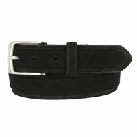 Fullerton 3510001 Genuine Full Grain Suede Leather Belt with Nickel Buckle - Black
