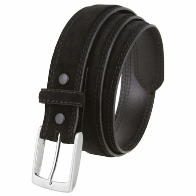 "Fullerton 3510001 Genuine Suede Leather Belt and with a Nickel Buckle - Black 1 3/8"" Wide"