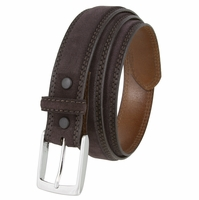 "Fullerton 3510002 Genuine Suede Leather Belt and with a Nickel Buckle-Brown 1 3/8"" Wide"