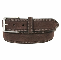Fullerton 3510002 Genuine Full Grain Suede Leather Belt with Nickel Buckle - Brown