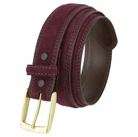 "Fullerton 3510003 Genuine Suede Leather Belt with Brass Buckle - Burgundy 1 3/8"" Wide"