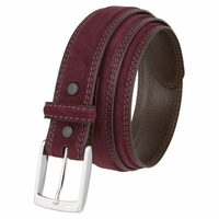 "Fullerton 3510003 Genuine Suede Leather Belt with a Nickel Buckle -   Burgundy 1 3/8"" Wide"