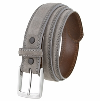 "Fullerton 3510004 Genuine Full Grain Suede Leather Belt with a Nickel Buckle - Gray 1 3/8"" Wide"