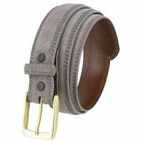 "Fullerton 3510004 Genuine Suede Leather Belt with Brass Buckle - Gray 1 3/8"" Wide"