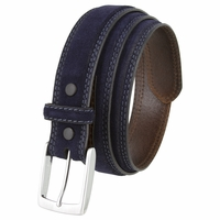 "Fullerton 3510005 Genuine Full Grain Suede Leather Belt with Nickel Buckle - Navy 1 3/8"" Wide"