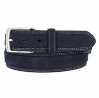 Fullerton 3510005 Genuine Full Grain Suede Leather Belt with Nickel Buckle - Navy