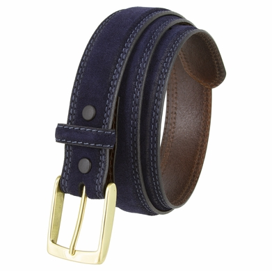 """Fullerton 3510005 Genuine Suede Leather Belt with Brass Buckle - Navy 1 3/8"""" Wide"""