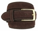 Fullerton 351002 Genuine Full Grain Suede Leather Belt with Brass Buckle - Brown2