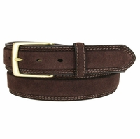 Fullerton 351002 Genuine Full Grain Suede Leather Belt with Brass Buckle - Brown