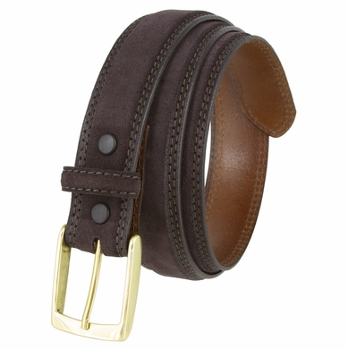 "Fullerton 351002 Genuine Suede Leather Belt with Brass Buckle - Brown 1 3/8"" Wide"
