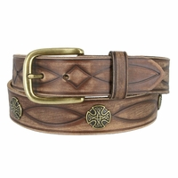 Fullerton 3820002 Genuine Full Grain Leather Tooled Belt with Antique Brass Buckle and Celtic Conchos