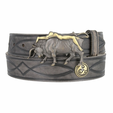 Fullerton 3820004 Genuine Full Grain Leather Tooled Belt with Lady on Bull Buckle