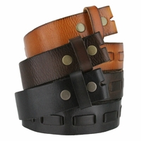 Fullerton 383000 Genuine Full Grain Leather Belt Strap with Matching Overlapped Leather