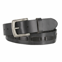 Fullerton 3830001 Genuine Full Grain Leather Belt Strap with Matching Overlapped Leather - Black