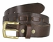 Fullerton 3830002 Genuine Full Grain Leather Belt Strap with Matching Overlapped Leather - Brown3