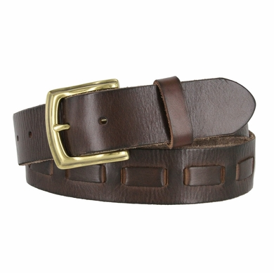 Fullerton 3830002 Genuine Full Grain Leather Belt Strap with Matching Overlapped Leather - Brown