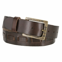Fullerton 383000204 Genuine Full Grain Leather Belt Strap with Matching Overlapped Leather - Brown