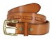 Fullerton 3830003 Genuine Full Grain Leather Belt Strap with Matching Overlapped Leather - Tan3