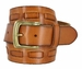 Fullerton 3830003 Genuine Full Grain Leather Belt Strap with Matching Overlapped Leather - Tan1