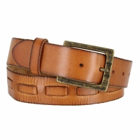 Fullerton 383000304 Genuine Full Grain Leather Belt Strap with Matching Overlapped Leather - Tan