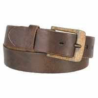 Fullerton 384002 Genuine Full Grain Vintage Distressed Leather Belt with Rustic Buckle