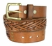 Fullerton 386002-P3926 Hand Laced Genuine Full Grain Leather Belt with Brass Buckle3