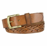 Fullerton 386002-P3926 Hand Laced Genuine Full Grain Leather Belt with Brass Buckle