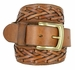 Fullerton 386002-P3926 Hand Laced Genuine Full Grain Leather Belt with Brass Buckle1